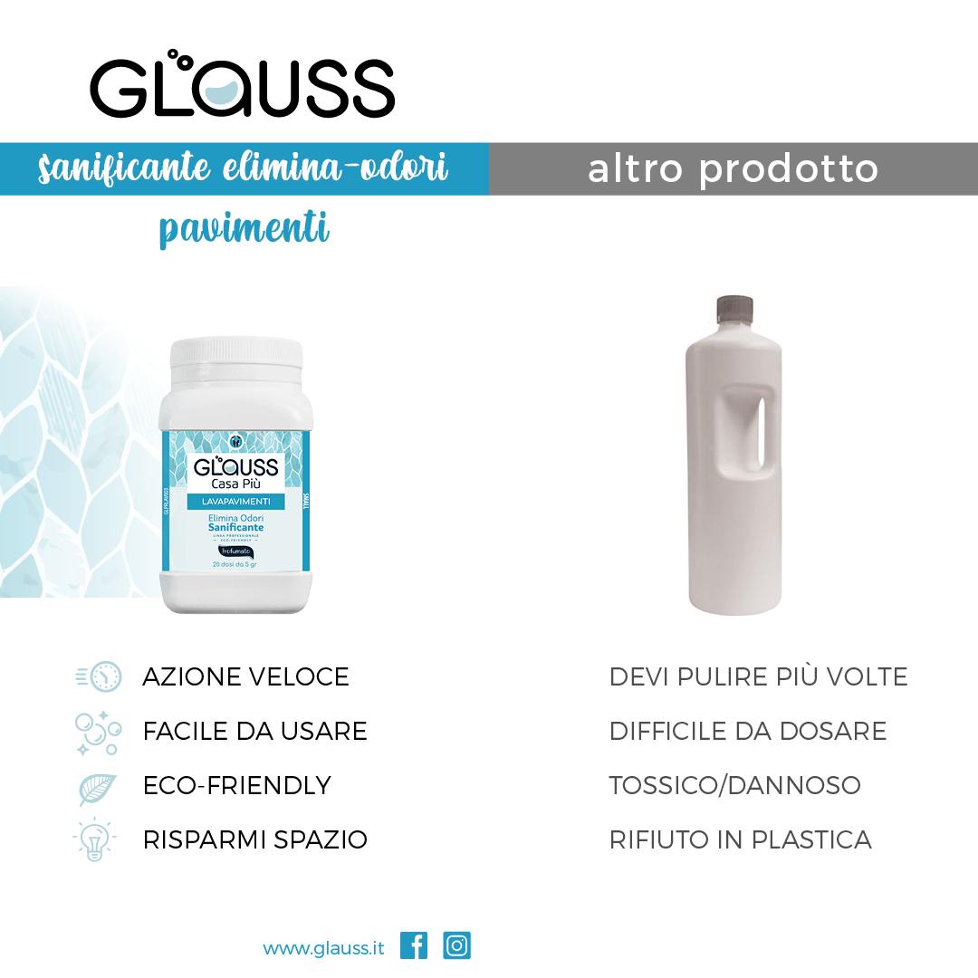 glauss lavapavimenti detergente sanificante elimina odori per pavimenti tabella comparativa