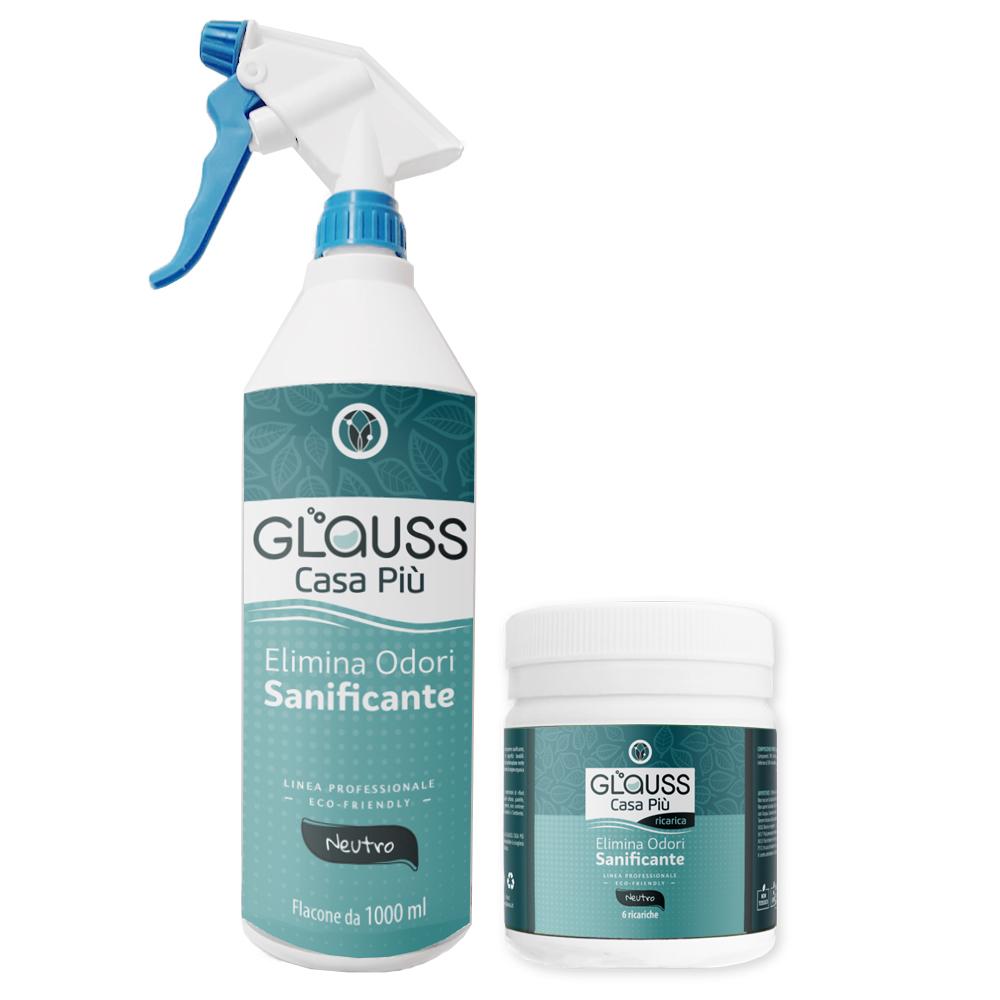 glauss casa più neutro kit flacone con 6 bustine elimina odori sanificante