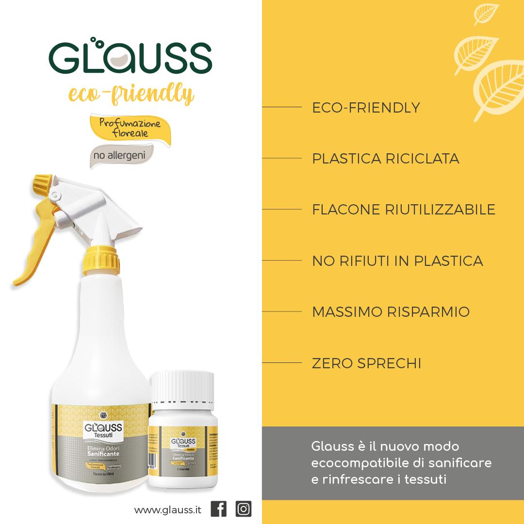 Glauss Tessuti sanificante elimina odori punti di forza
