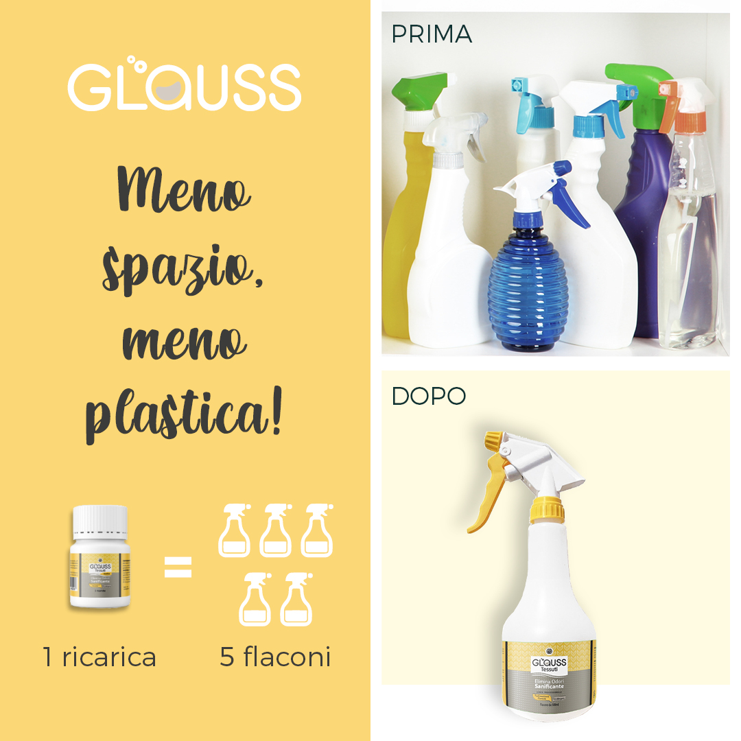 Glauss Tessuti sanificante elimina odori meno spazio meno plastica impatto ambientale