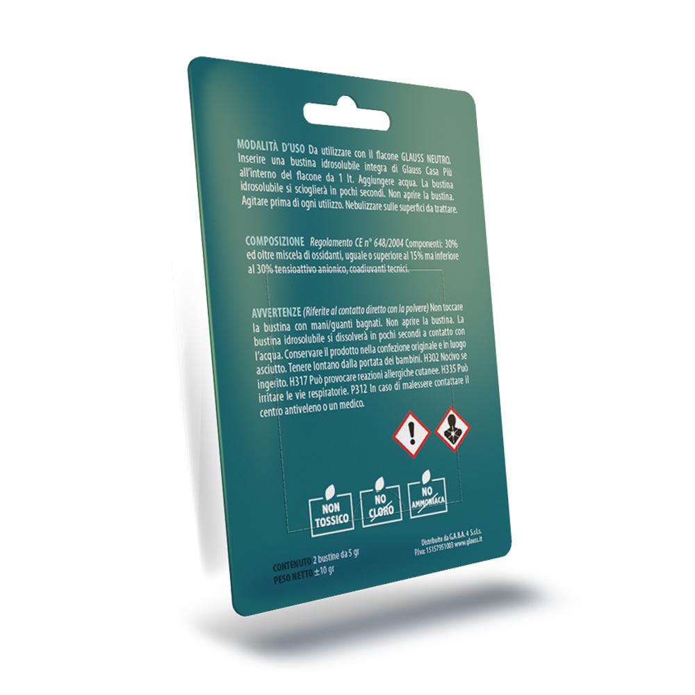 glauss casa più neutro elimina odori sanificante blister da 2 compresse 2 litri retro
