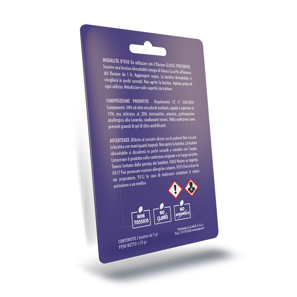 glauss casa più lavanda elimina odori sanificante blister da 4 compresse 2 litro retro