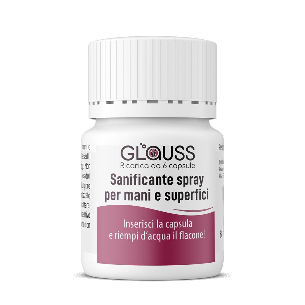 Glauss sanificante igienizzante mani ricarica 6 capsule 600 ml