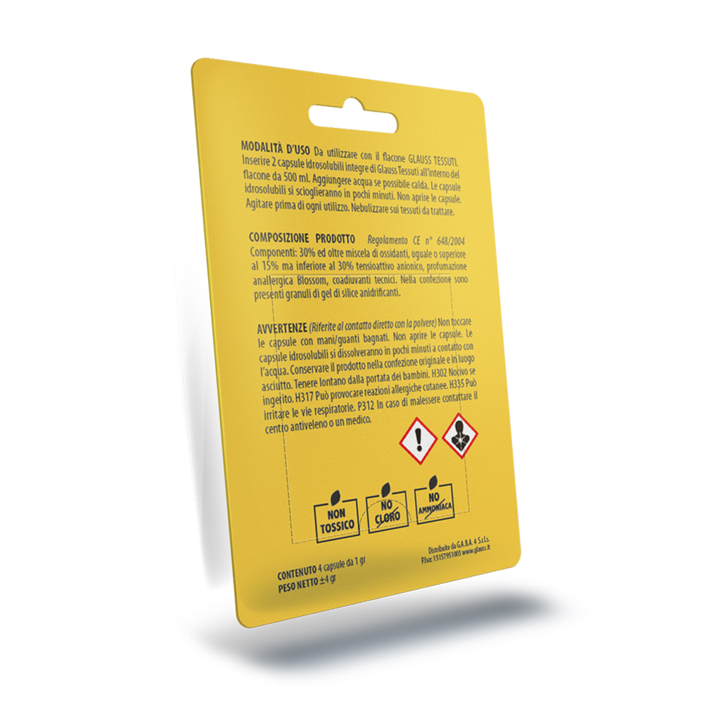 glauss tessuti più elimina odori sanificante blister da 4 compresse 1 litro fronte